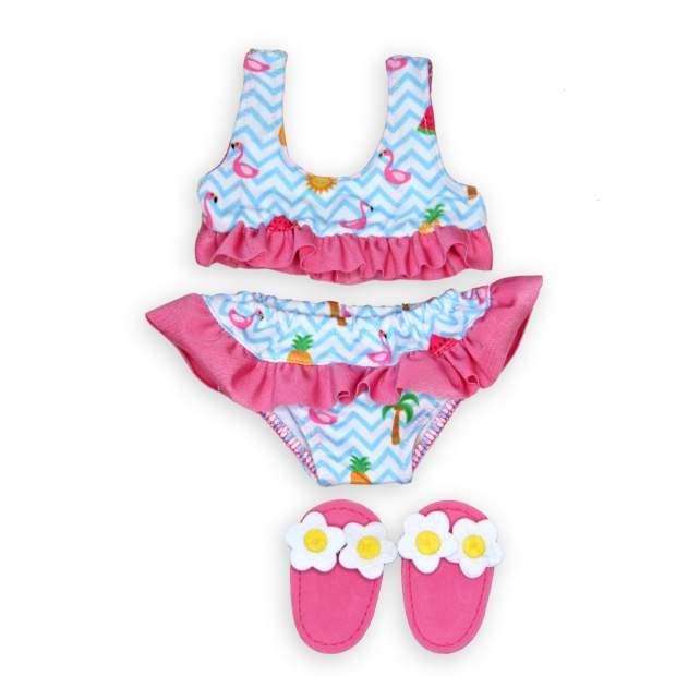 Flamingo-Bikini mit Badeschläppchen, Gr. 35-45cm