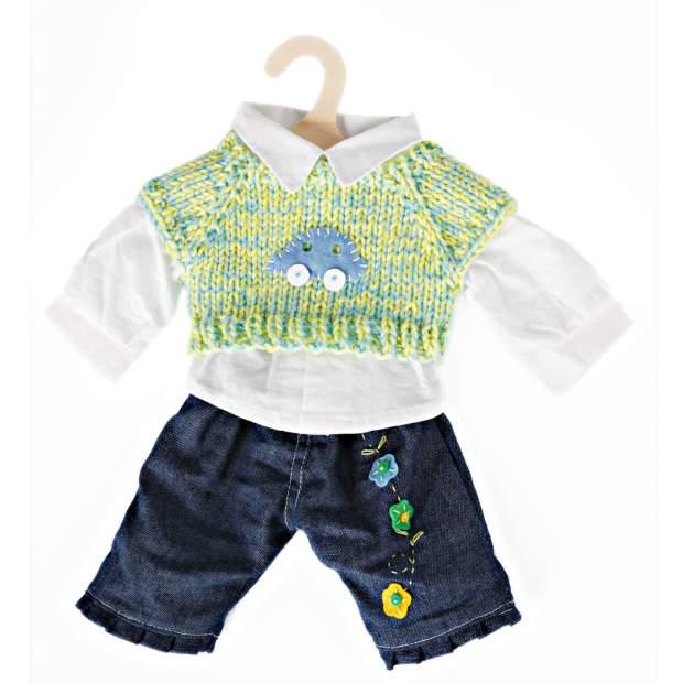 Jeans mit Pullunder und Hemd, Gr. 35-45 cm