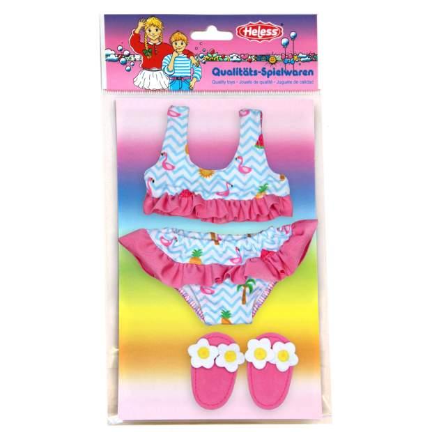 Flamingo-Bikini mit Badeschläppchen, Gr. 28-35 cm