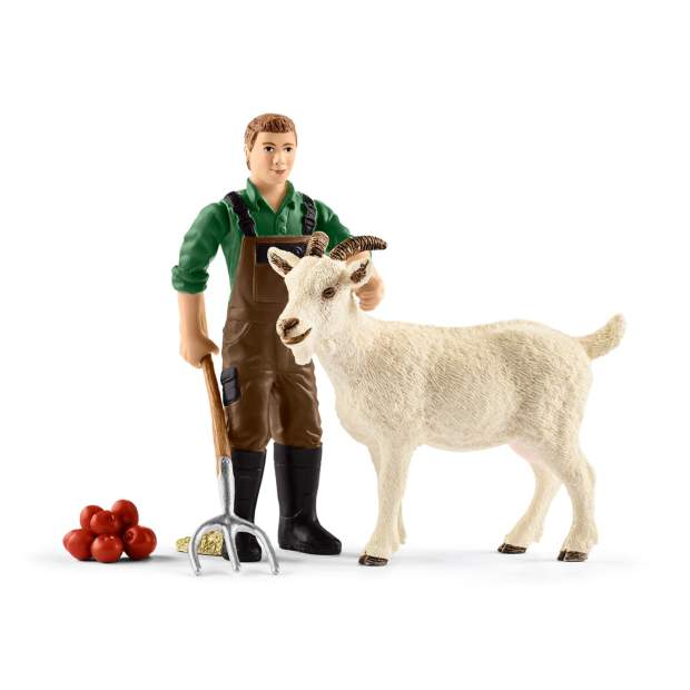 Farmer with goat