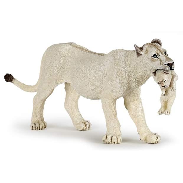 Weiße Löwin mit Jungtier