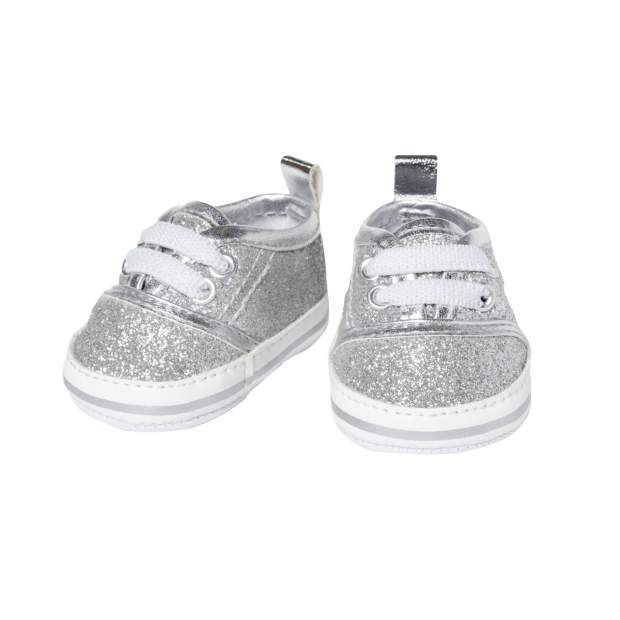 Glitzer-Sneakers, silber, Gr. 30-34 cm