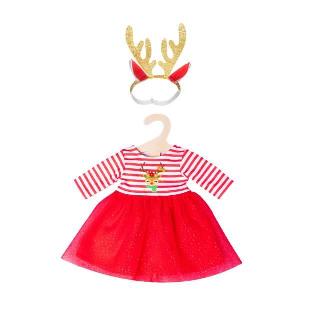 """Weihnachtskleid mit Haarband """"Rentier Rudi"""", Gr. 35-45 cm"""
