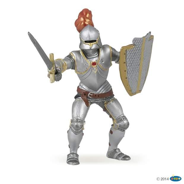 Ritter mit Rüstung und Feder, rot
